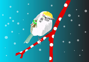Chip Sparrow on a Candy Cane Branch with night sky