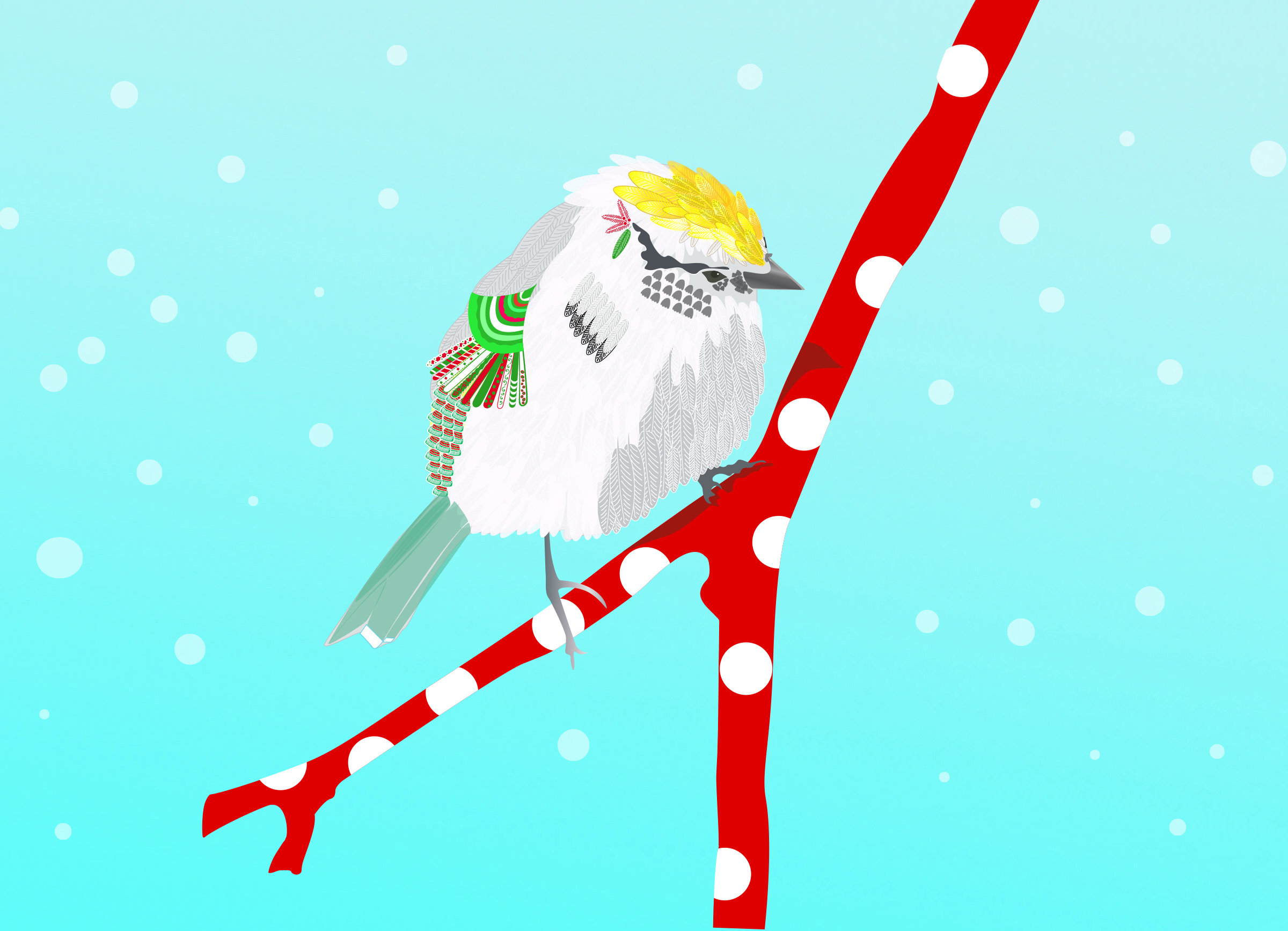 festive Chip, the sparrow, on a red, polka-dot branch