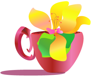 coffee cup sprouting a flower