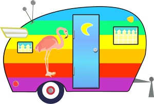 retro camper with rainbow stripes and flamingo art
