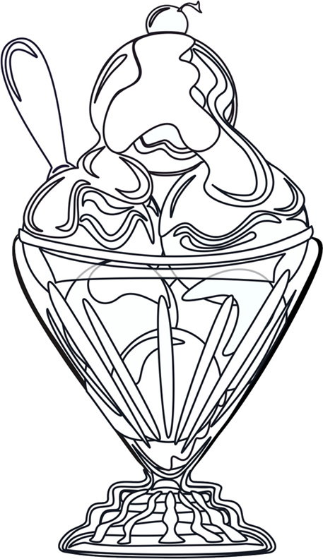 Swim yellow duck art coloring pages for Ice cream sundae coloring page