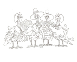four turkeys dressed as pilgrim to color for Thanksgiving