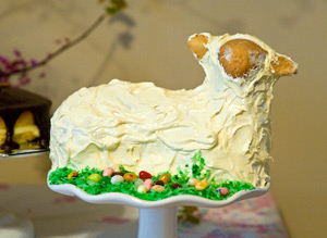 "Lamb cake 2009, vanilla cake frosted and on a bed of ""Jelly Belly"" jelly beans"