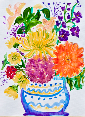 Stephanie's Birthday Flowers, a watercolor of a bouquet of flowers from her party