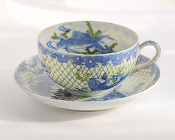 bone china cup and saucer from Japan with a blue carp design