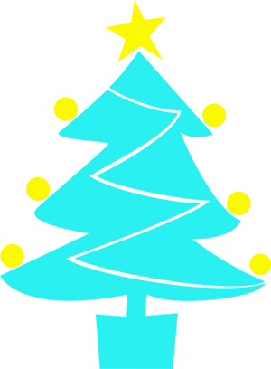 Christmas tree icon in blue with lights