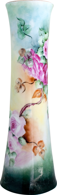 Bavarian vase with hand-painted flowers
