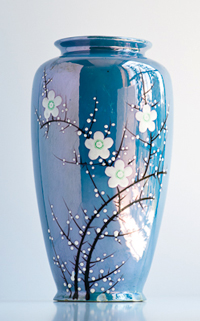 irridescent vase, hand painted